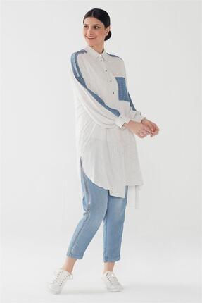 Zühre Kristal Taşlı & Pul Payet Detaylı Düğmeli Tunik Mavi T-0788
