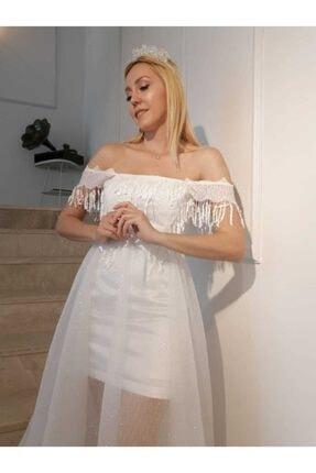 GÜLSÜN Kadın Beyaz Simli Tül Uzun Nikah Elbise