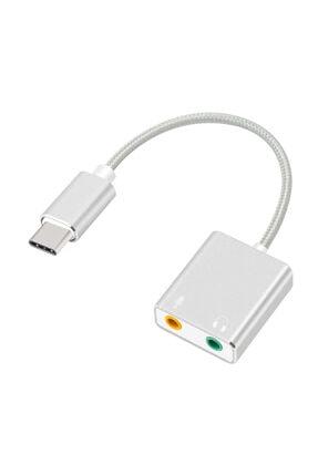 Microsonic Type-c Sound Card Kablo, Type-c To 3.5mm Kulaklık Ve Mikrofon Çevirici Adaptör Gri