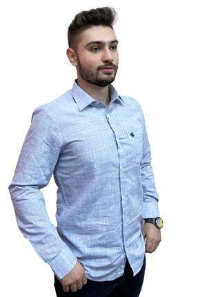 Franco Nero Erkek Mavi Polo Yaka Çizgili Gömlek