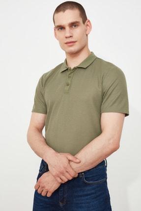 TRENDYOL MAN Haki Erkek Slim Fit Dokulu Polo Yaka T-Shirt TMNSS20PO0002