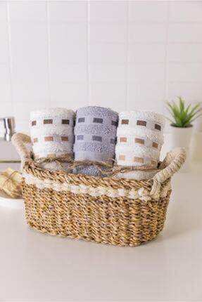 Cosargroup Hasır Oval Kulplu Krem Şeritli Düzenleyici Ekmek Havlu Sepeti