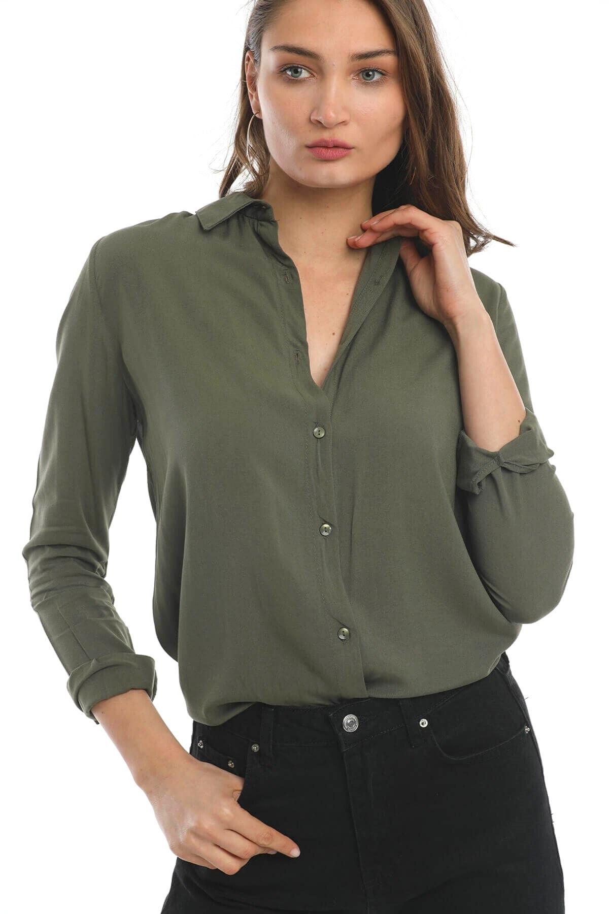 Mossta Kadın Basic Gömlek Haki 2