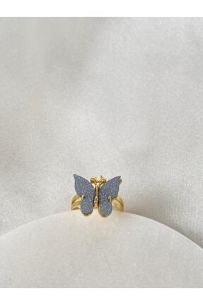 QuBa Accessory Kelebek Model Mavi Yüzük