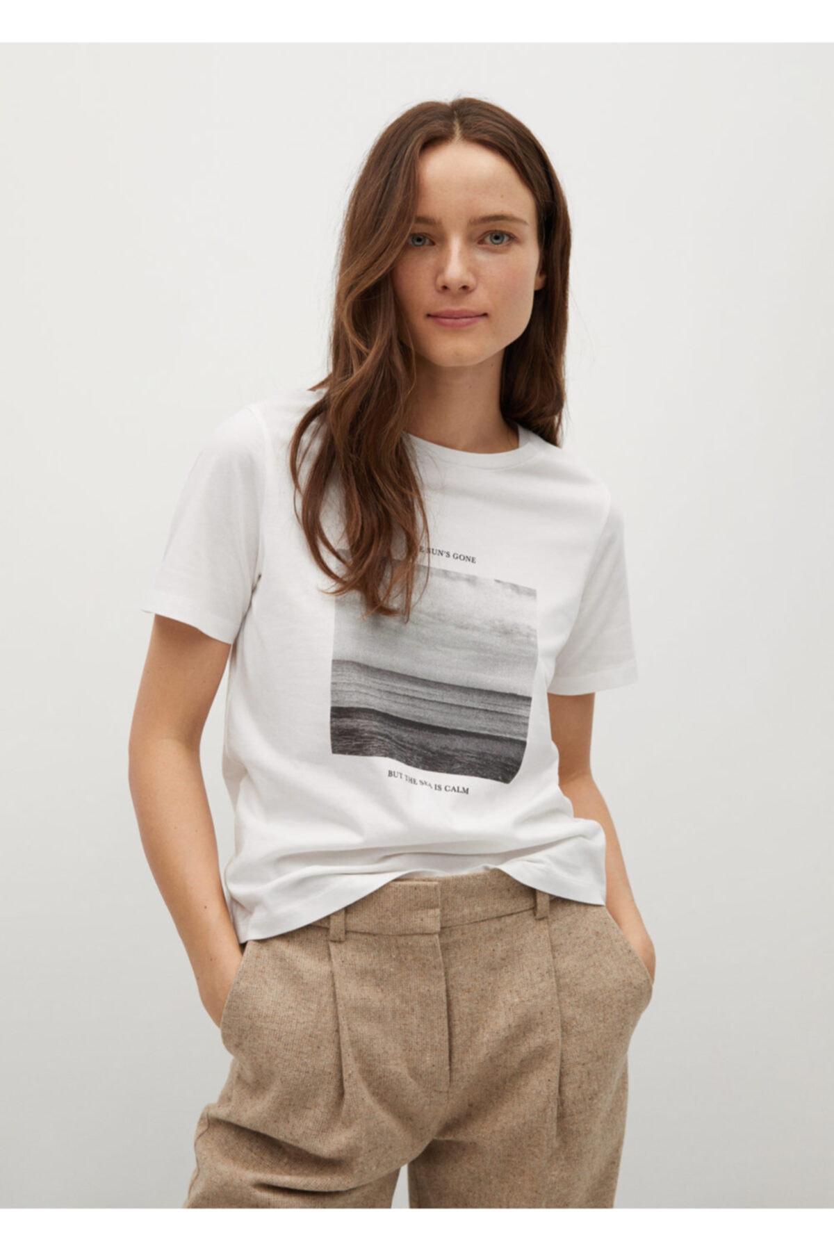 MANGO Woman Kadın Beyaz Organik Pamuklu Desenli Tişört 1