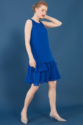 Journey Elbise-o Yaka Kolsuz, Eteği Katlı