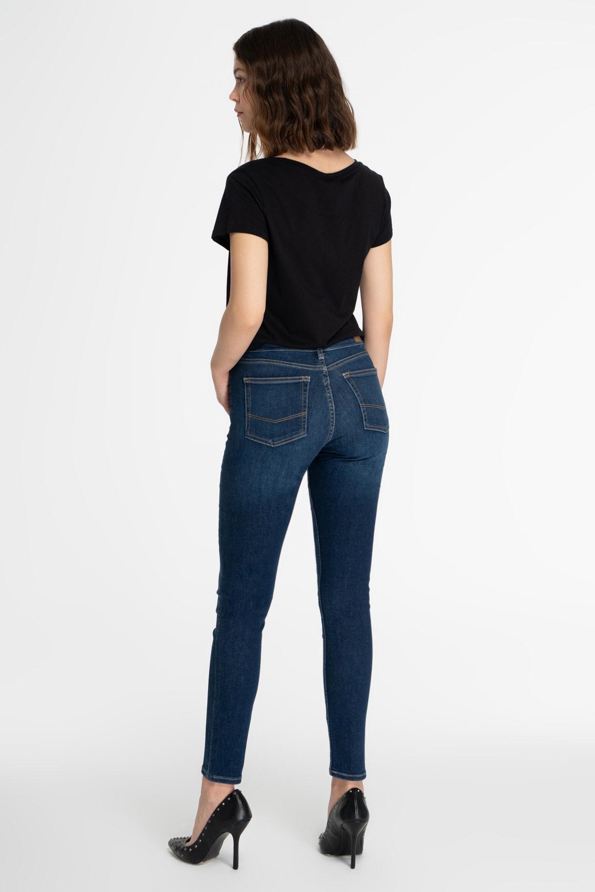 CROSS JEANS Kadın Koyu Mavi Normal Bel Skinny Fit Jean Pantolon 2