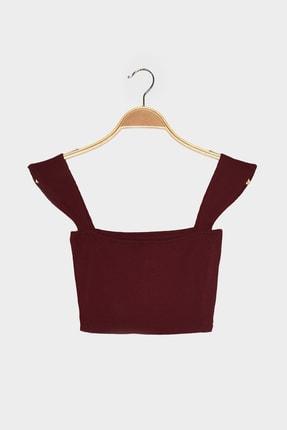 TRENDYOLMİLLA Bordo Fitilli Crop Örme Bluz TWOSS21BZ1538