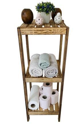 DEHAMODA 3 Katlı Dekoratif Ahşap Banyo Rafı Ayakkabılık Banyo-mutfak Düzenleyici 84x30x30