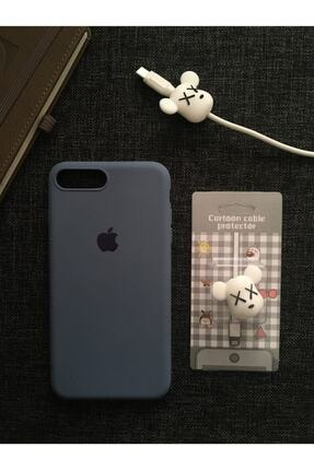 Mislina Iphone 7 Plus Ve 8 Plus'a Uyumlu, Logolu Lansman Kılıf+kablo Koruyucu