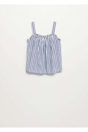 MANGO Kids Kız Çocuk Mavi Çizgili Askılı Bluz