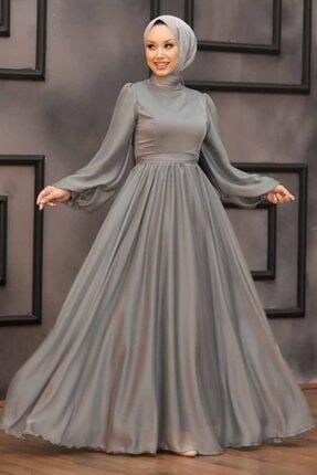 Neva Style Kadın Mint Balon Kol Tesettür Abiye Elbise 5215mınt