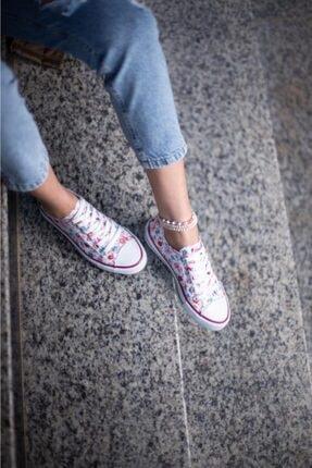ESPARDİLE Kadın Beyaz Çiçek Desenli Spor Ayakkabı