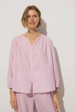 Oysho Eflatun %100 Pamuklu Gömlek