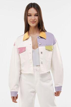 Bershka Kadın Beyaz Renkli Kırkyama Pamuklu Ceket