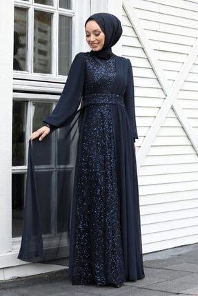 Neva Style Tesettür Abiye Elbise - Pul Payetli Lacivert Tesettür Abiye Elbise 5408l