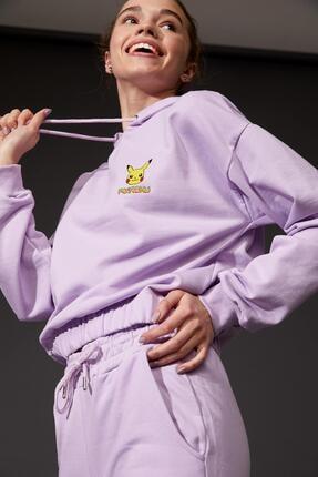 DeFacto Kadın Mor Pokemon LisanslıBeli LastikliCrop Sweatshirt