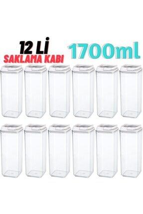 MYBOX 12 Li Süper Saklama Kabı 1700ml X 12 Adet Beyaz (özel Kapak) , Erzak Kabı