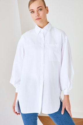Trendyol Modest Beyaz Gömlek Yaka Tunik TCTSS21GO0976