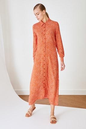 Trendyol Modest Tarçın Gömlek Yaka Viskon Elbise TCTSS21EL3445