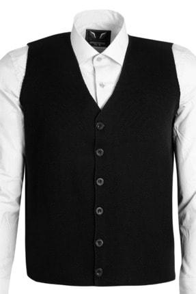 SEYFİÖZ TRİKO Erkek Siyah Çelik Örme Klasik Kesim V Yakalı Düğmeli Kalın Desenli Yelek