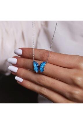 LAVERANZA 925 Ayar Gümüş Mavi Renk Kelebek Kolye