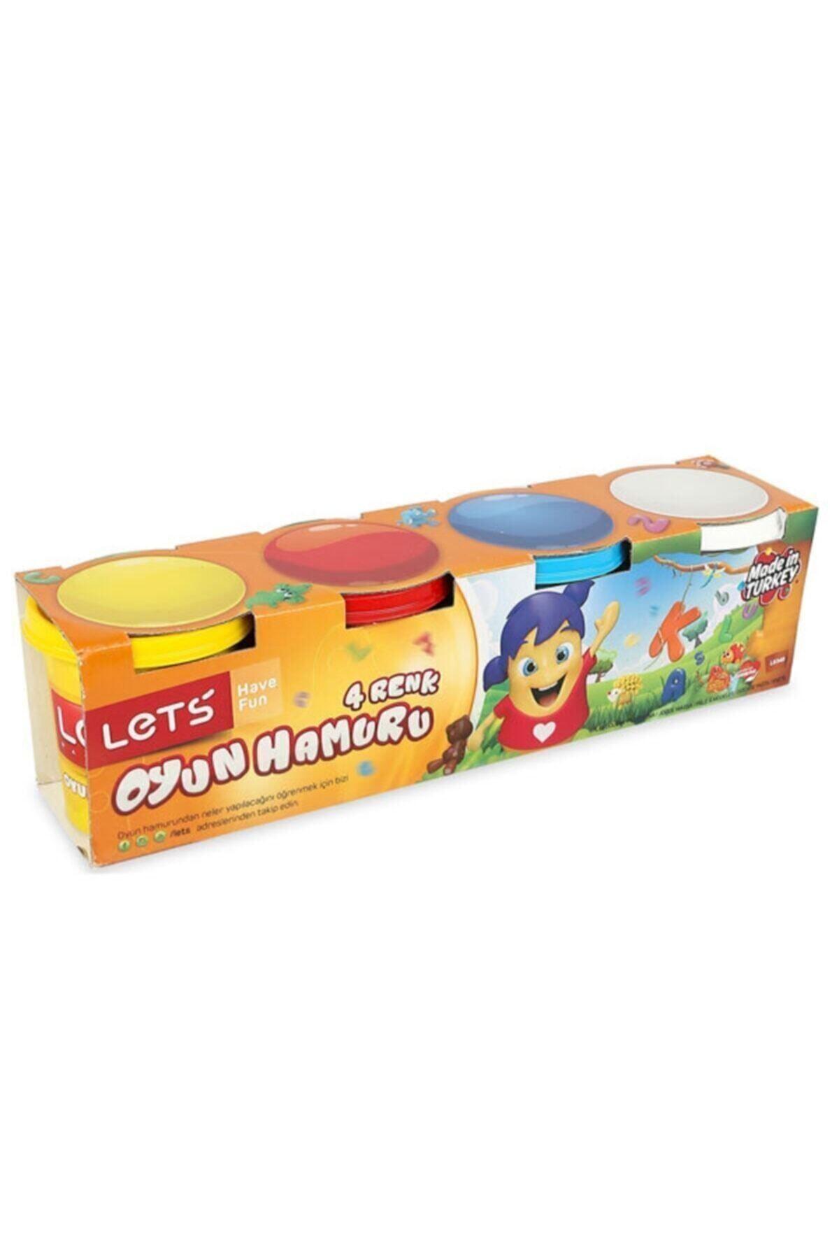 Lets 4'lü Büyük Boy Oyun Hamuru 4 Renk 600gr 1