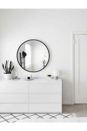 EFFE YAPI DEKOR Siyah Metal Çerçeveli 70 Cm Yuvarlak Ayna