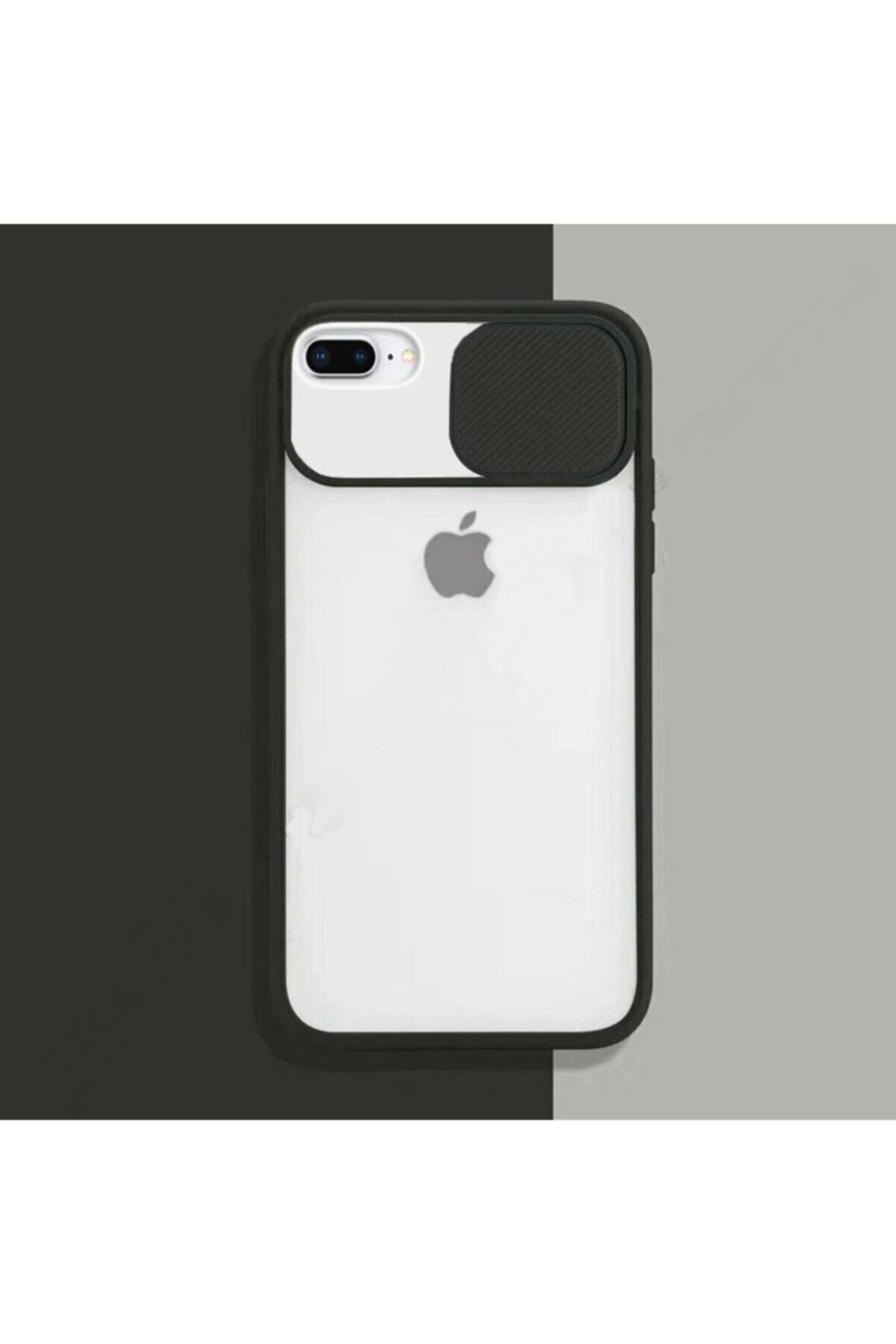 zore Siyah Iphone 7 Plus 8 Plus Sürgülü Kamera Korumalı Silikon Kılıf 1