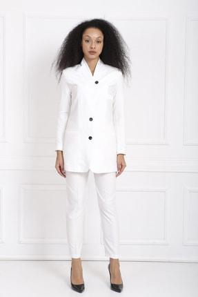 Sense Kadın Beyaz Viskon Takım Elbise