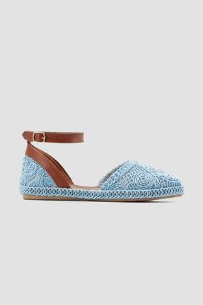Limoya Lorraine Mavi Örgü Detaylı Triko Bilekten Baretli Sandalet