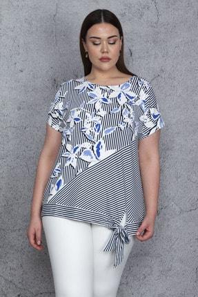 Şans Kadın Mavi Düşük Kol Bel Yan Bağlamalı Çizgi Ve Çiçek Baskılı Viskon Bluz 65N23844
