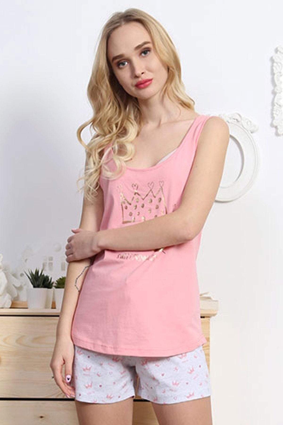 Pattaya Kadın Kolsuz Tişört Şort Pijama Takımı Y20s137-8100672696 1