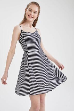 DeFacto Çizgili V Yaka Ayarlanabilir Askılı Elbise