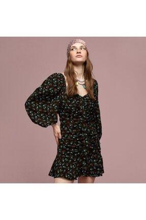 Mudo Kadın Büzgü Detaylı Çiçekli Mini Elbise