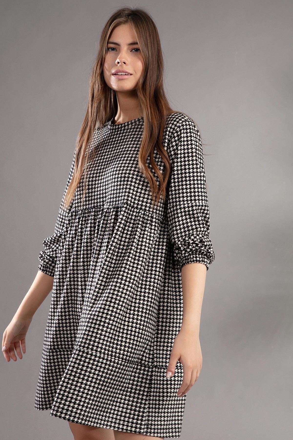 Pattaya Kadın Kazayağı Desenli Günlük Elbise Y20w110-2113 2