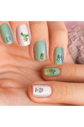 Artikel Kaktüs Tırnak Dövmesi Tırnak Tattoo Nail Art Tırnak Sticker