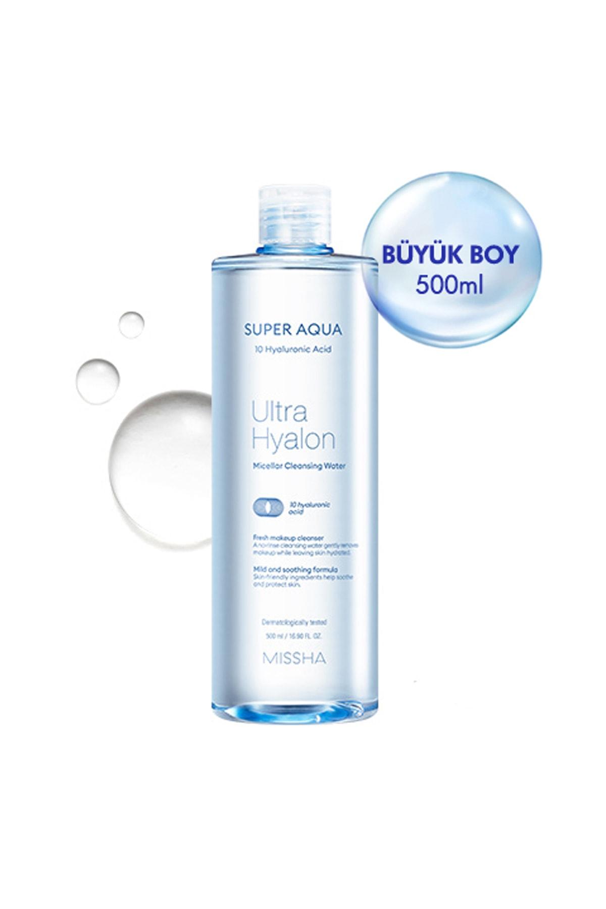 Missha 10 Çeşit Hyalüronik Asit İçeren Makyaj Temizleme Suyu 500ml Super Aqua Ultra Hyalron Cleansing Water