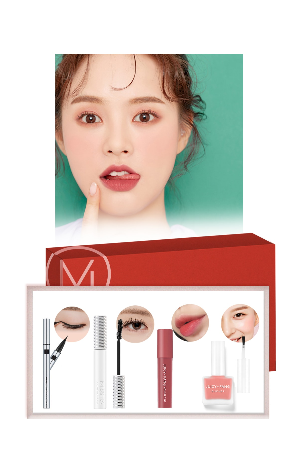 Missha Pink Makyaj Seti  Best Seller Maskara-Ruj-Allık-Eyeliner  - Pink Days