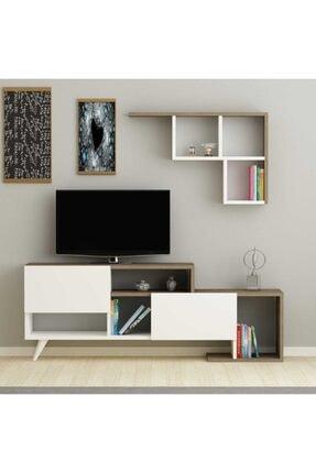ARNETTİ Hadise Raflı Tv Ünitesi Yaşam Odası, Salon, Ve Oturma Odası, Tv Sehpası Beyaz-ceviz