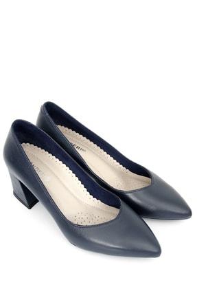 GÖNDERİ(R) Hakiki Deri Lacivert Antik Klasik Topuklu Ayakkabı 24170