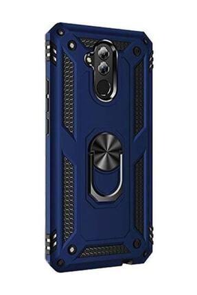 FiberAksesuar Huawei Mate 20 Lite Uyumlu Kılıf Vega Tank Zırh Yüzüklü Mıknatıslı Standlı Kapak Lacivert