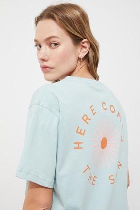 TRENDYOLMİLLA Mint Boyfriend T-Shirt TWOSS21TS2647