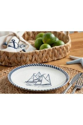 English Home Sail Porselen Pasta Tabağı 19 Cm Beyaz - Lacivert