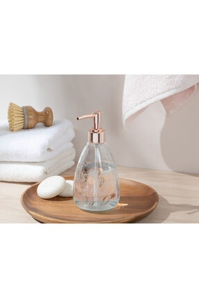 English Home Dandelion Cam Banyo Sıvı Sabunluk 7x7x18 Cm Rose Gold