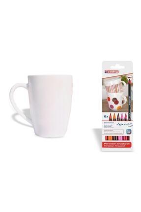 Edding 4200 Porselen Kalemi Sıcak Renkler + Porselen Kupa