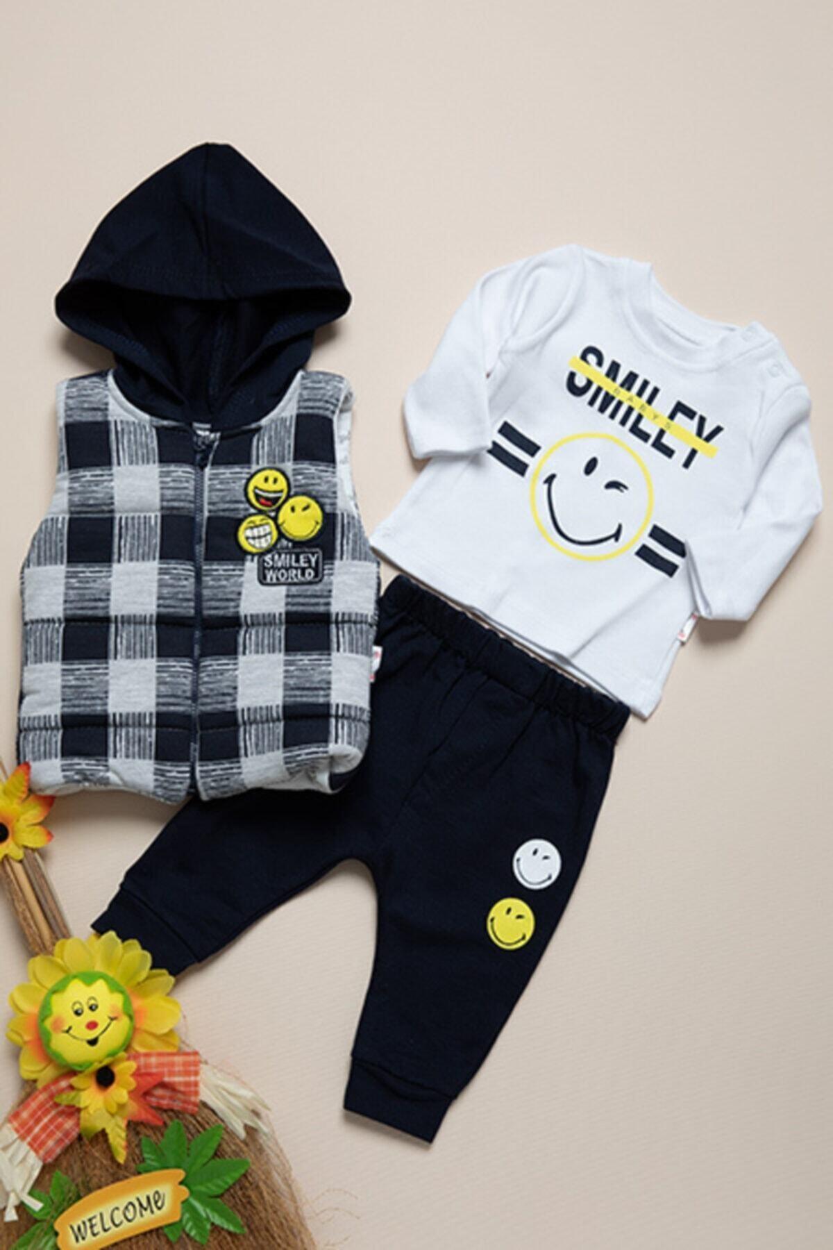 Hippil Bebek Lacivert Hippıl Baby Smiley Üçlü Takım 1