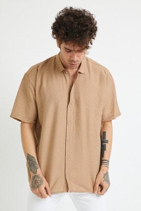 XHAN Erkek Bej Oversize Gömlek