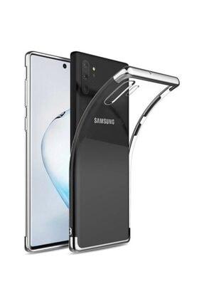 Samsung Galaxy Note 10 Plus Kılıf Dört Köşe Lazer Renkli Şeffaf Silikon