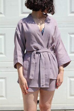 Botex Kadın Lila Müslin Şort Kimono Takım